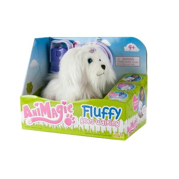 Animagic Fluffy Go Walkies Vit hund & lila koppel
